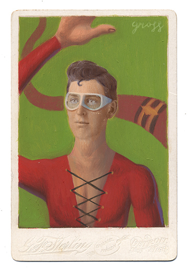 Alex  Gross -  <strong>Plasticman</strong> (2013<strong style = 'color:#635a27'></strong>)<bR /> mixed media on antique cabinet card photograph  6 1/2 x 4 1/4 inches  16.51 x 10.8 cm  12 x 9 inches, framed