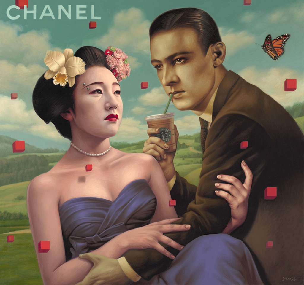 Alex  Gross -  <strong>Product Placement</strong> (2010<strong style = 'color:#635a27'></strong>)<bR /> oil on canvas,   32 x 34 inches  (81.28 x 86.36 cm)