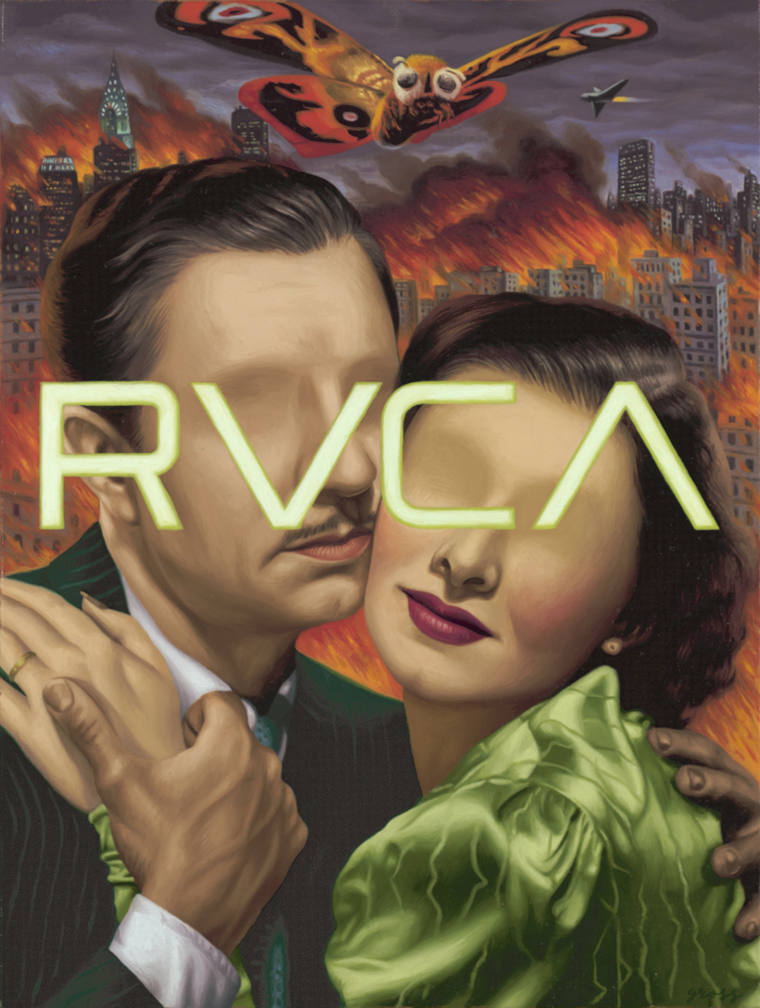 Alex  Gross -  <strong>RVCA (Mothra)</strong> (2011<strong style = 'color:#635a27'></strong>)<bR /> oil on panel,   21 x 16 inches  (53.34 x 40.64 cm)  framed dimensions TBD