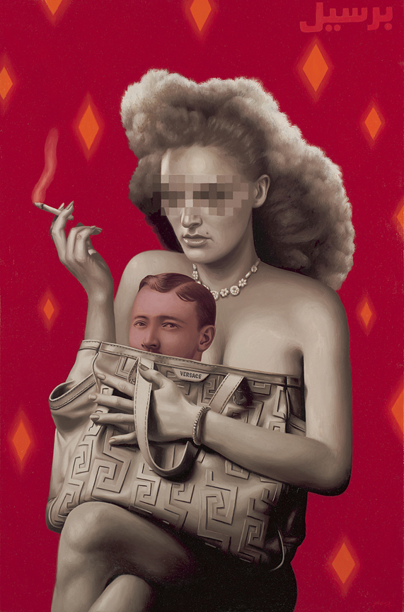 Alex  Gross -  <strong>Red Man</strong> (2011<strong style = 'color:#635a27'></strong>)<bR /> oil on panel,   34 x 22 inches  (86.36 x 55.88 cm)  framed dimensions TBD