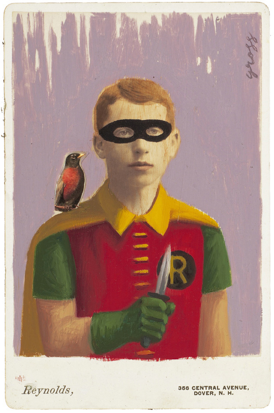 Alex  Gross -  <strong>Robin</strong> (2010<strong style = 'color:#635a27'></strong>)<bR /> mixed media and oil on antique cabinet photo cards,   6.5 x 4.25 inches (16.51 x 10.79 cm)  11 x 9 inches (27.94 x 22.86), framed
