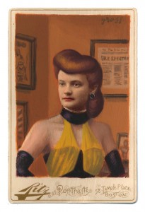 Alex  Gross -  <strong>Sally Jupiter</strong> (2014<strong style = 'color:#635a27'></strong>)<bR /> mixed media on antique cabinet card photograph,   4.25 x 6.5 inches  (10.8 x 16.51 cm)  9 x 11 inches, FRAMED,   Please contact gallery for availability