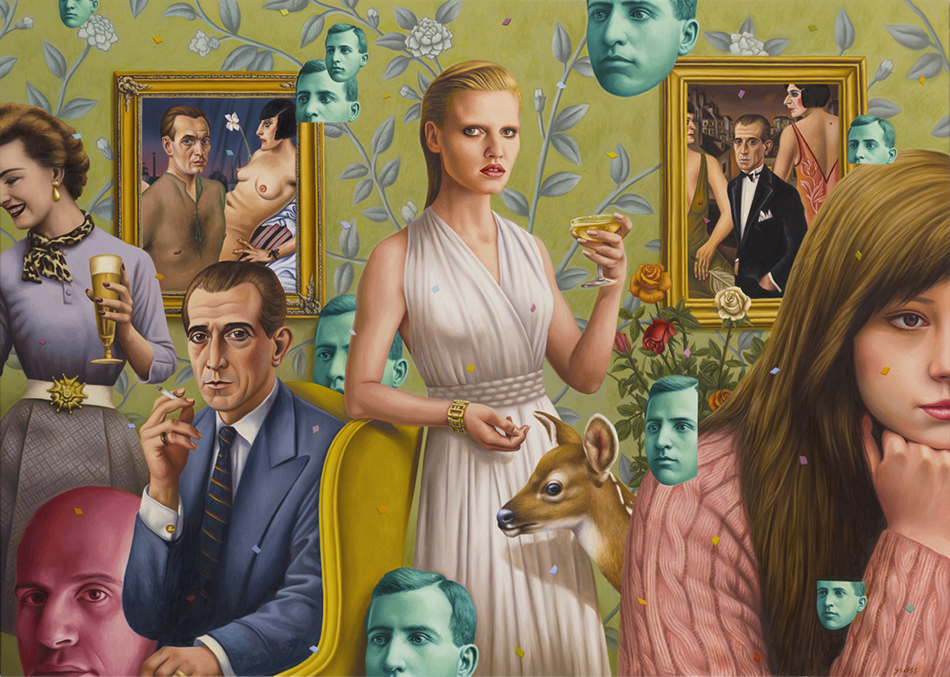 Alex  Gross -  <strong>Schadenfreude</strong> (2012<strong style = 'color:#635a27'></strong>)<bR /> oil on canvas,   39 x 54.5 inches  (99.06 x 138.43 cm)