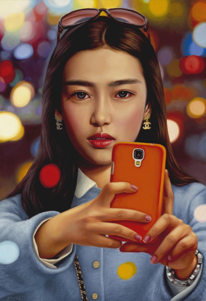 Alex  Gross -  <strong>Selfie</strong> (2014<strong style = 'color:#635a27'></strong>)<bR /> oil on canvas,   22 x 15 inches  (55.88 x 38.10 cm)