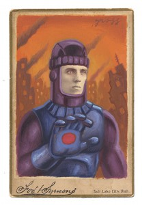 Alex  Gross -  <strong>Sentinel</strong> (2013<strong style = 'color:#635a27'></strong>)<bR /> mixed media on antique cabinet card photograph  6 1/2 x 4 1/4 inches  16.51 x 10.8 cm  12 x 9 inches, framed