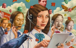 Alex  Gross -  <strong>Service Industry</strong> (2013<strong style = 'color:#635a27'></strong>)<bR /> oil on canvas,   29.5 x 46.5 inches  (74.93 x 118.11 cm)