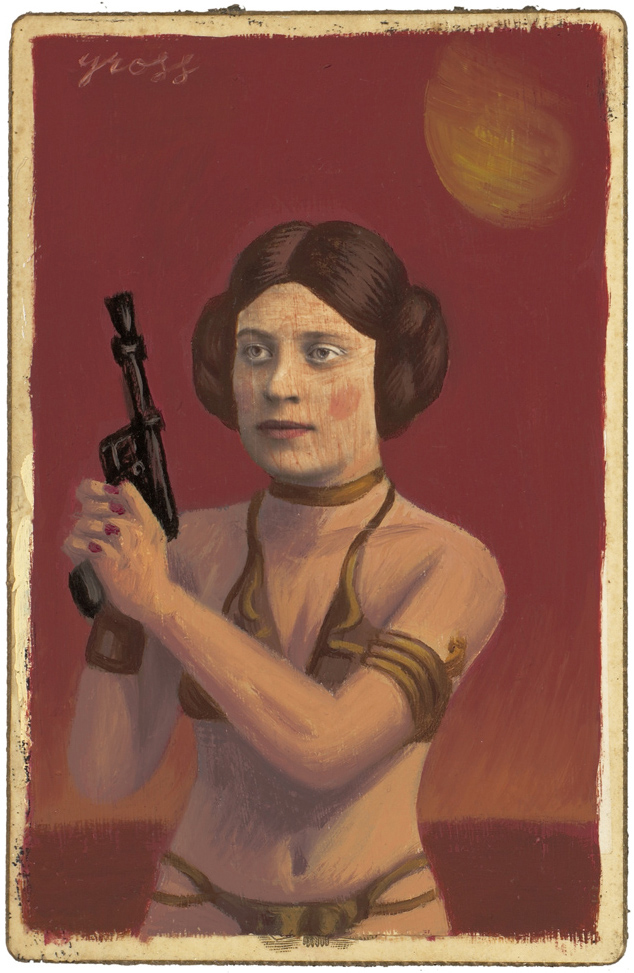 Alex  Gross -  <strong>Slave Girl Leia</strong> (2010<strong style = 'color:#635a27'></strong>)<bR /> mixed media and oil on antique cabinet photo cards,   6.5 x 4.25 inches (16.51 x 10.79 cm)  11 x 9 inches (27.94 x 22.86), framed