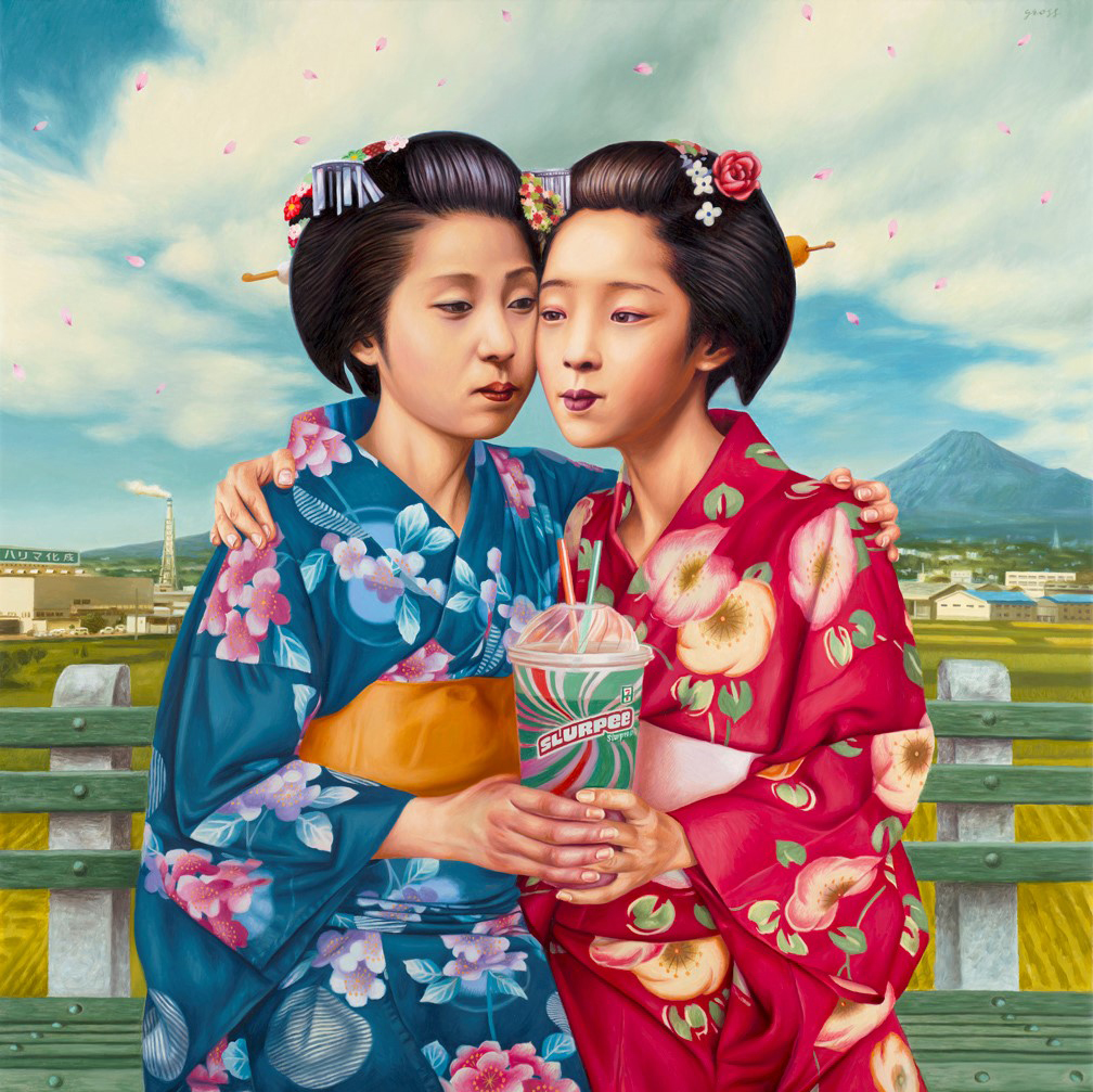 Alex  Gross -  <strong>Slurpee (Best Friends)</strong> (2014<strong style = 'color:#635a27'></strong>)<bR /> oil on canvas,   38.5 x 38.5 inches  (97.79 x 97.79 cm)