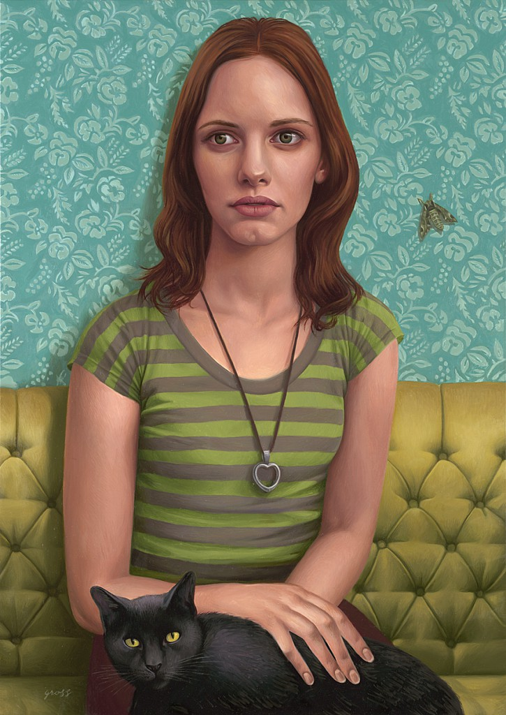 Alex  Gross -  <strong>Sphinx</strong> (2009<strong style = 'color:#635a27'></strong>)<bR /> oil on canvas,   30 x 21.25 inches (76.2 x 53.97 cm)  35.5 x 27 x 3 inches, framed