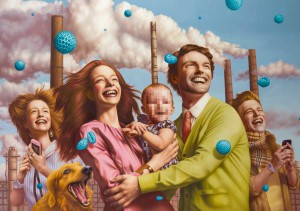 Alex  Gross -  <strong>Spores</strong> (2014<strong style = 'color:#635a27'></strong>)<bR /> oil on canvas,   50.5 x 73 inches  (128.27 x 185.42 cm)
