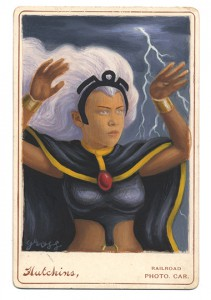 Alex  Gross -  <strong>Storm</strong> (2013<strong style = 'color:#635a27'></strong>)<bR /> mixed media on antique cabinet card photograph  6 1/2 x 4 1/4 inches  16.51 x 10.8 cm  12 x 9 inches, framed