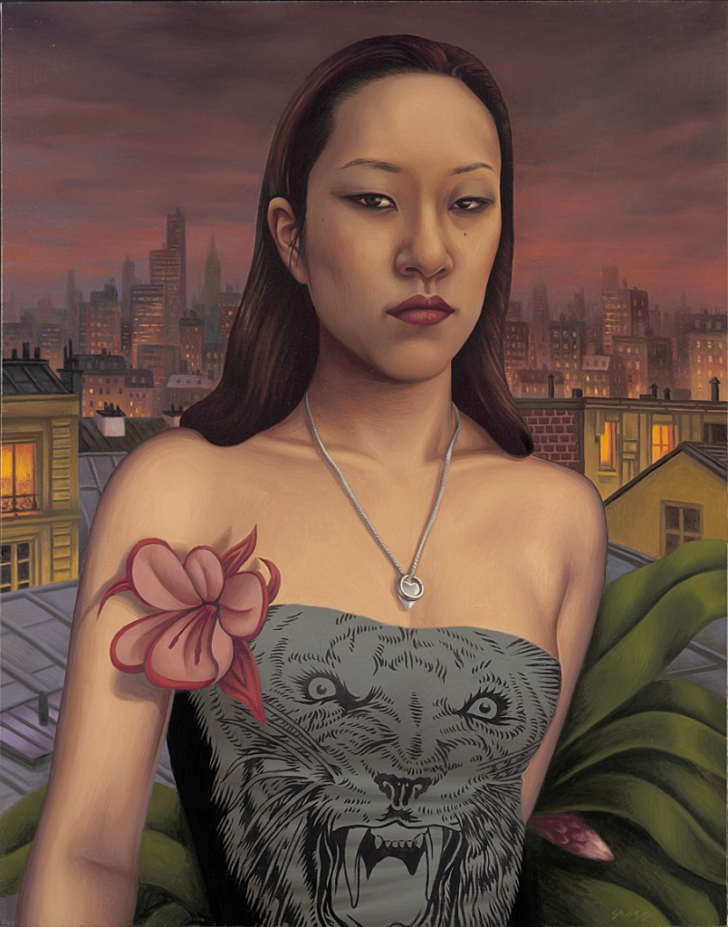 Alex  Gross -  <strong>Sylvia Ji</strong> (2010<strong style = 'color:#635a27'></strong>)<bR /> oil on canvas,   28 x 22 inches (71.12 x 55.88 cm)  34 x 28 x 3 inches, framed