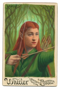 Alex  Gross -  <strong>Tauriel</strong> (2014<strong style = 'color:#635a27'></strong>)<bR /> mixed media on antique cabinet card photograph,   4.25 x 6.5 inches  (10.8 x 16.51 cm)  9 x 11 inches, FRAMED,   Please contact gallery for availability