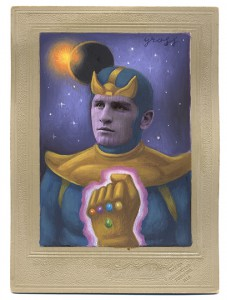 Alex  Gross -  <strong>Thanos</strong> (2013<strong style = 'color:#635a27'></strong>)<bR /> mixed media on antique cabinet card photograph  6 1/2 x 4 1/4 inches  16.51 x 10.8 cm  12 x 9 inches, framed