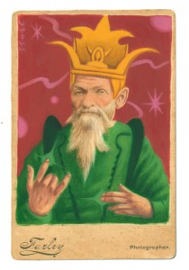 Alex  Gross -  <strong>The Ancient One</strong> (2014<strong style = 'color:#635a27'></strong>)<bR /> mixed media on antique cabinet card photograph,   4.25 x 6.5 inches  (10.8 x 16.51 cm)  9 x 11 inches, FRAMED