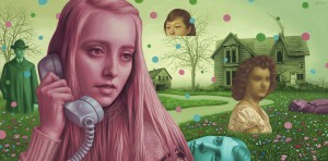 Alex  Gross -  <strong>The Bends</strong> (2011<strong style = 'color:#635a27'></strong>)<bR /> oil on panel,   17 x 34.5 inches  (43.18 x 87.63 cm)  framed dimensions TBD