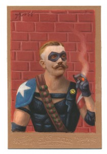 Alex  Gross -  <strong>The Comedian</strong> (2014<strong style = 'color:#635a27'></strong>)<bR /> mixed media on antique cabinet card photograph,   4.25 x 6.5 inches  (10.8 x 16.51 cm)  9 x 11 inches, FRAMED,   Please contact gallery for availability