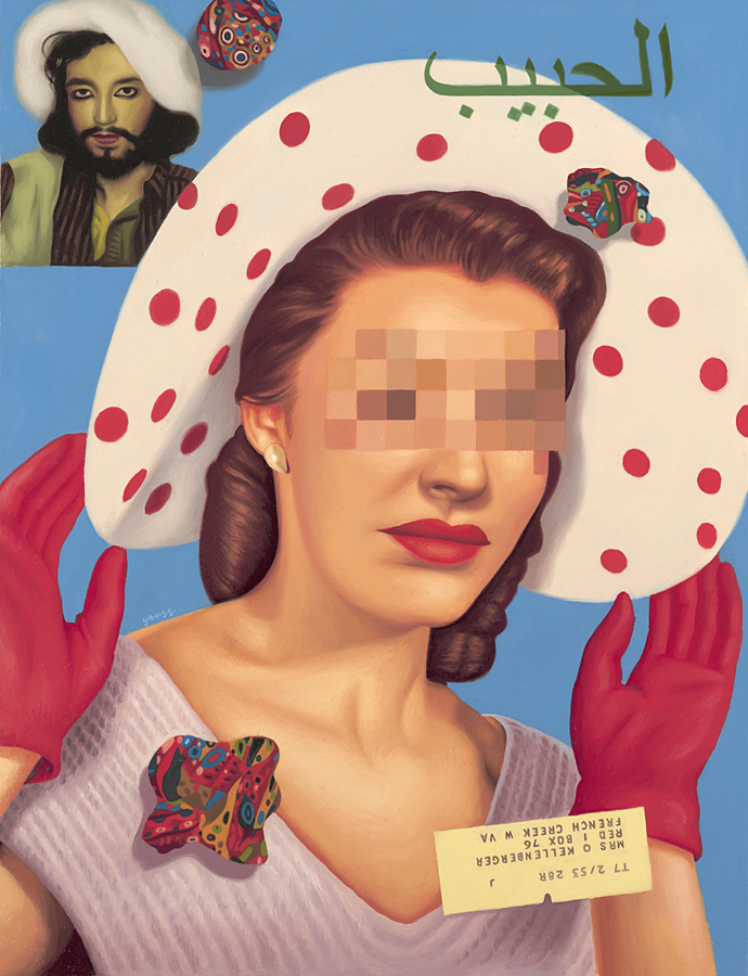 Alex  Gross -  <strong>The Lover</strong> (2011<strong style = 'color:#635a27'></strong>)<bR /> oil on panel,   26.5 x 20.5 inches  (67.3 x 52 cm)  framed dimensions TBD