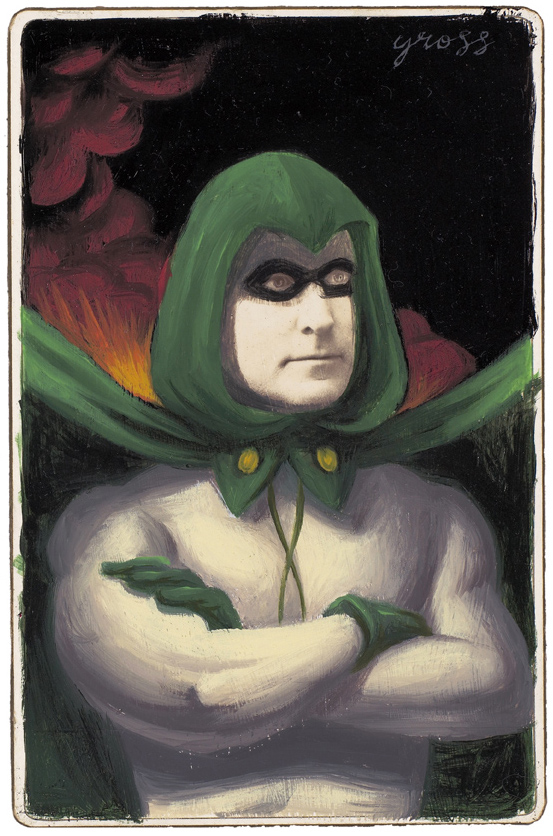 Alex  Gross -  <strong>The Spectre</strong> (2010<strong style = 'color:#635a27'></strong>)<bR /> mixed media and oil on antique cabinet photo cards,   6.5 x 4.25 inches (16.51 x 10.79 cm)  11 x 9 inches (27.94 x 22.86), framed