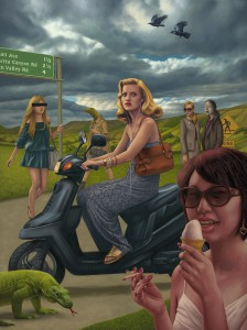 Alex  Gross -  <strong>The Storm</strong> (2011<strong style = 'color:#635a27'></strong>)<bR /> oil on canvas,   82 x 61.5 inches  (208.28 x 156.21 cm)  framed dimensions TBD