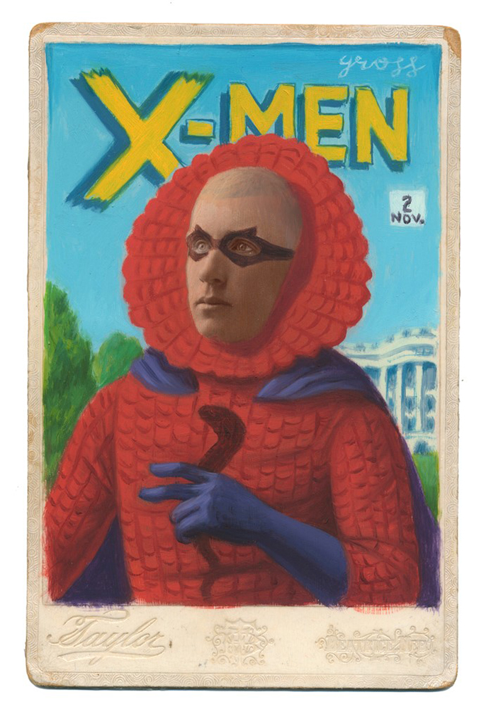 Alex  Gross -  <strong>The Vanisher</strong> (2014<strong style = 'color:#635a27'></strong>)<bR /> mixed media on antique cabinet card photograph,   4.25 x 6.5 inches  (10.8 x 16.51 cm)  9 x 11 inches, FRAMED,   Please contact gallery for availability