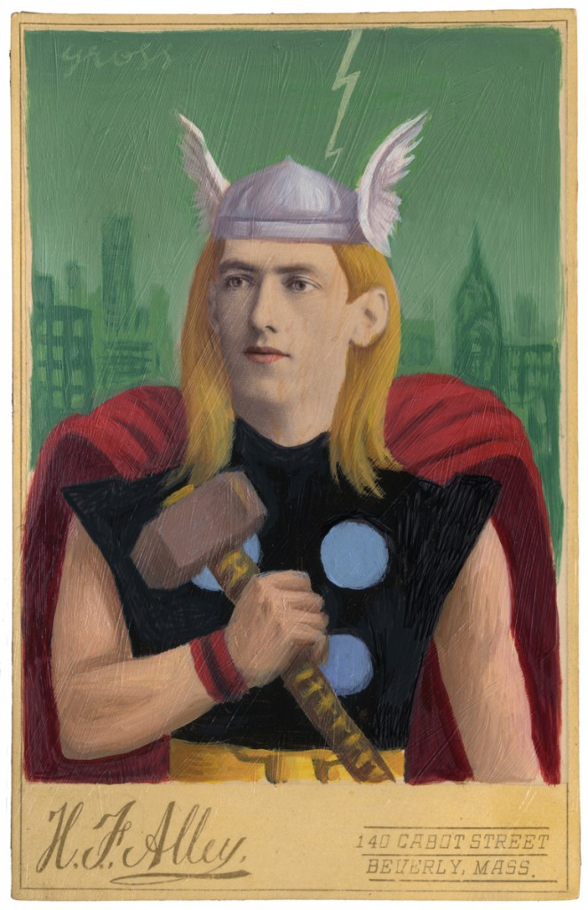 Alex  Gross -  <strong>Thor</strong> (2010<strong style = 'color:#635a27'></strong>)<bR /> oil and mixed media on antique cabinet card,   6.5 x 4.25 inches (16.51 x 10.79 cm)  11 x 9 x 1.375 inches, framed