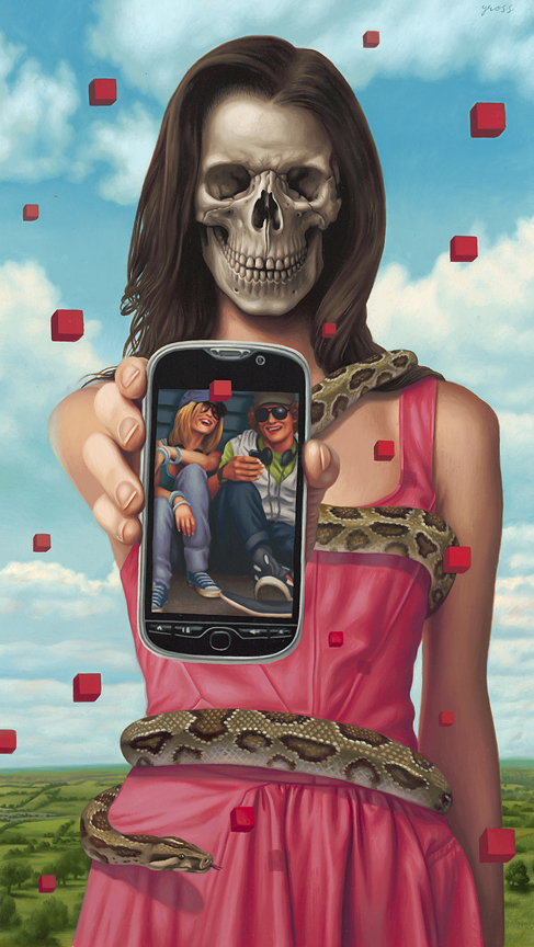 Alex  Gross -  <strong>T-Mobile</strong> (2011<strong style = 'color:#635a27'></strong>)<bR /> oil on panel,   30.5 x 17.5 inches  (77.47 x 44.45 cm)  framed dimensions TBD