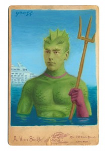 Alex  Gross -  <strong>Triton</strong> (2014<strong style = 'color:#635a27'></strong>)<bR /> mixed media on antique cabinet card photograph,   4.25 x 6.5 inches  (10.8 x 16.51 cm)  9 x 11 inches, FRAMED,   Please contact gallery for availability