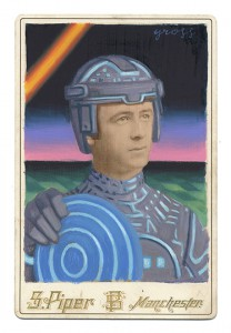 Alex  Gross -  <strong>Tron</strong> (2013<strong style = 'color:#635a27'></strong>)<bR /> mixed media on antique cabinet card photograph  6 1/2 x 4 1/4 inches  16.51 x 10.8 cm  12 x 9 inches, framed