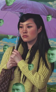 Alex  Gross -  <strong>Umbrella</strong> (2011<strong style = 'color:#635a27'></strong>)<bR /> oil on panel,   16.5 x 27 inches  (41.91 x 68.58 cm)  framed dimensions TBD