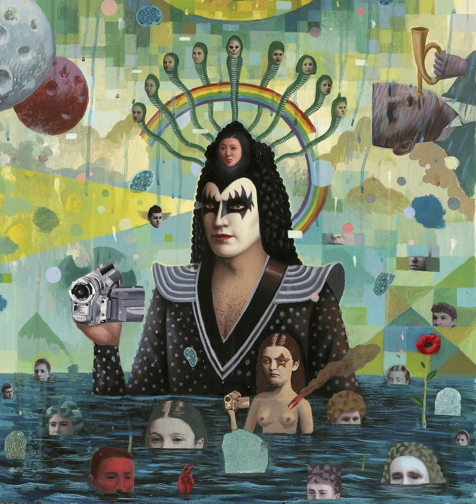 Alex  Gross -  <strong>Videotape</strong> (2008<strong style = 'color:#635a27'></strong>)<bR /> mixed media on panel,   25 x 24 (63.5 x 60.96 cm)  31.5 x 31 x 1.75 inches, framed