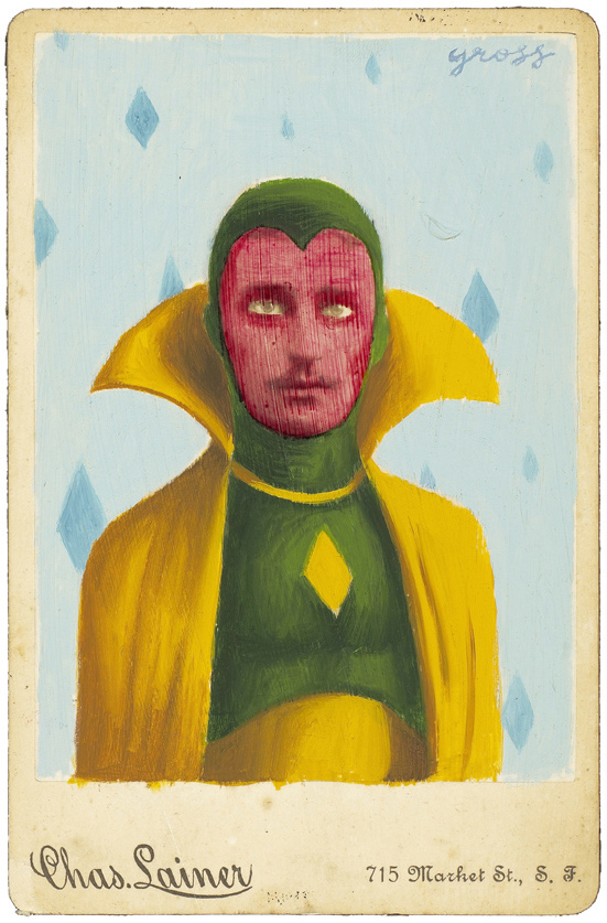 Alex  Gross -  <strong>Vision</strong> (2010<strong style = 'color:#635a27'></strong>)<bR /> mixed media and oil on antique cabinet photo cards,   6.5 x 4.25 inches (16.51 x 10.79 cm)  11 x 9 inches (27.94 x 22.86), framed