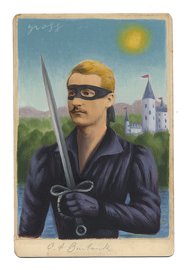 Alex  Gross -  <strong>Westley</strong> (2013<strong style = 'color:#635a27'></strong>)<bR /> mixed media on antique cabinet card photograph  6 1/2 x 4 1/4 inches  16.51 x 10.8 cm  12 x 9 inches, framed