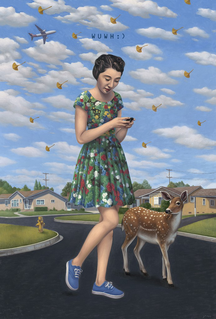Alex  Gross -  <strong>Wish You Were Here</strong> (2010<strong style = 'color:#635a27'></strong>)<bR /> oil on canvas,   53 x 36 inches (134.62 x 91.44 cm)  59 x 42 x 3.5 inches, framed
