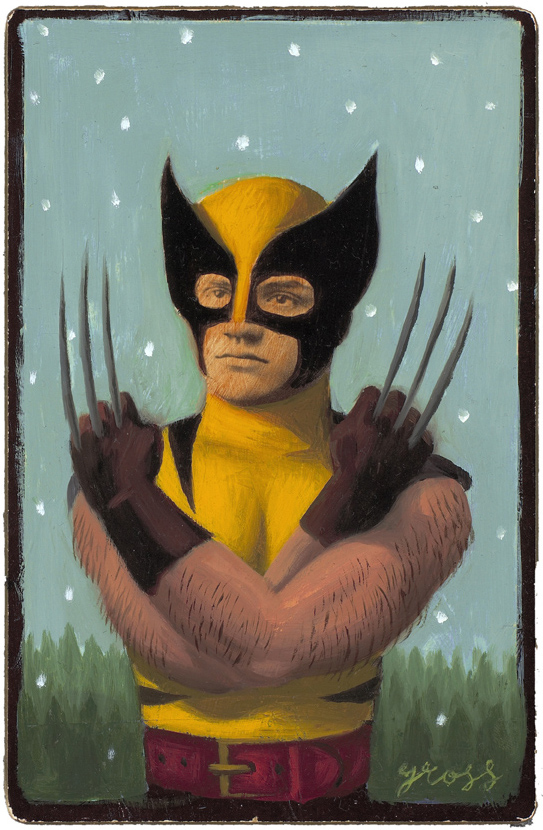 Alex  Gross -  <strong>Wolverine</strong> (2010<strong style = 'color:#635a27'></strong>)<bR /> mixed media and oil on antique cabinet photo cards,   6.5 x 4.25 inches (16.51 x 10.79 cm)  11 x 9 inches (27.94 x 22.86), framed