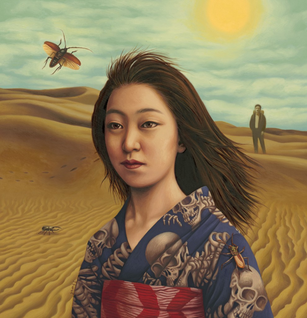 Alex  Gross -  <strong>Woman in the Dunes</strong> (2011<strong style = 'color:#635a27'></strong>)<bR /> oil on paper,   17.75 x 17 inches  (45 x 43.18 cm)