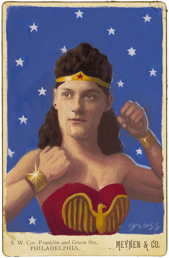 Alex  Gross -  <strong>Wonder Woman</strong> (2010<strong style = 'color:#635a27'></strong>)<bR /> mixed media and oil on antique cabinet photo cards,   6.5 x 4.25 inches (16.51 x 10.79 cm)  11 x 9 inches (27.94 x 22.86), framed