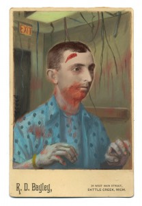 Alex  Gross -  <strong>Zombie</strong> (2014<strong style = 'color:#635a27'></strong>)<bR /> mixed media on antique cabinet card photograph,   4.25 x 6.5 inches  (10.8 x 16.51 cm)  9 x 11 inches, FRAMED