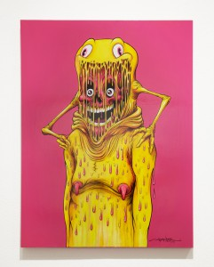 Alex  Pardee -  <strong>The Astronaut</strong> (2014<strong style = 'color:#635a27'></strong>)<bR /> acrylic and ink on wood,   24 x 18 inches  (60.96 x 45.72 cm)