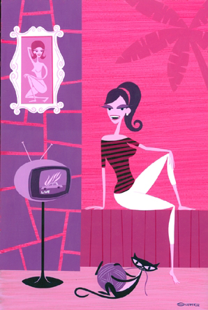 Josh  Agle (Shag) -  <strong>Allysandra</strong> (2006<strong style = 'color:#635a27'></strong>)<bR /> Acrylic on Panel,   20 x 14 inches