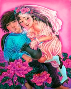"Xiaoqing  Ding -  <strong>Almost Rosy</strong> (2007<strong style = 'color:#635a27'></strong>)<bR /> Pastel on Paper,   <span style=""font-family: Helvetica;"">Image size: 40 x 32 inches,   </span>,  <p class=""MsoNormal""><span style=""font-family: Helvetica;"">Framed size: 41 x 33 inches,   </span>"