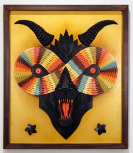 """AJ  Fosik -  <strong>Golden Immortalitas</strong> (2015<strong style = 'color:#635a27'></strong>)<bR /> wood, paint and nails  27 x 23.5 x 2 inches  edition of 10  signed and numbered by the artist,   Available to purchase <a href=""""http://shop.jonathanlevinegallery.com/collections/new-releases/products/aj-fosik-gold-immortalitas""""><em><strong>here</strong></em></a>"""