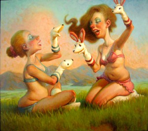 Andrew  Foster -  <strong>Girl Talk</strong> (2007<strong style = 'color:#635a27'></strong>)<bR /> Oil on Canvas,   38 x 44 inches