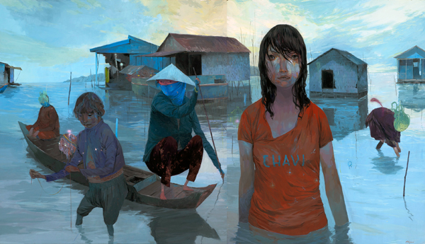 Andrew  Hem -  <strong>This Woman's Work</strong> (2010<strong style = 'color:#635a27'></strong>)<bR /> mixed media on panel  29.75 x 52.25 inches (75.57 x 132.72 cm)  30.25 x 52.875 inches, framed