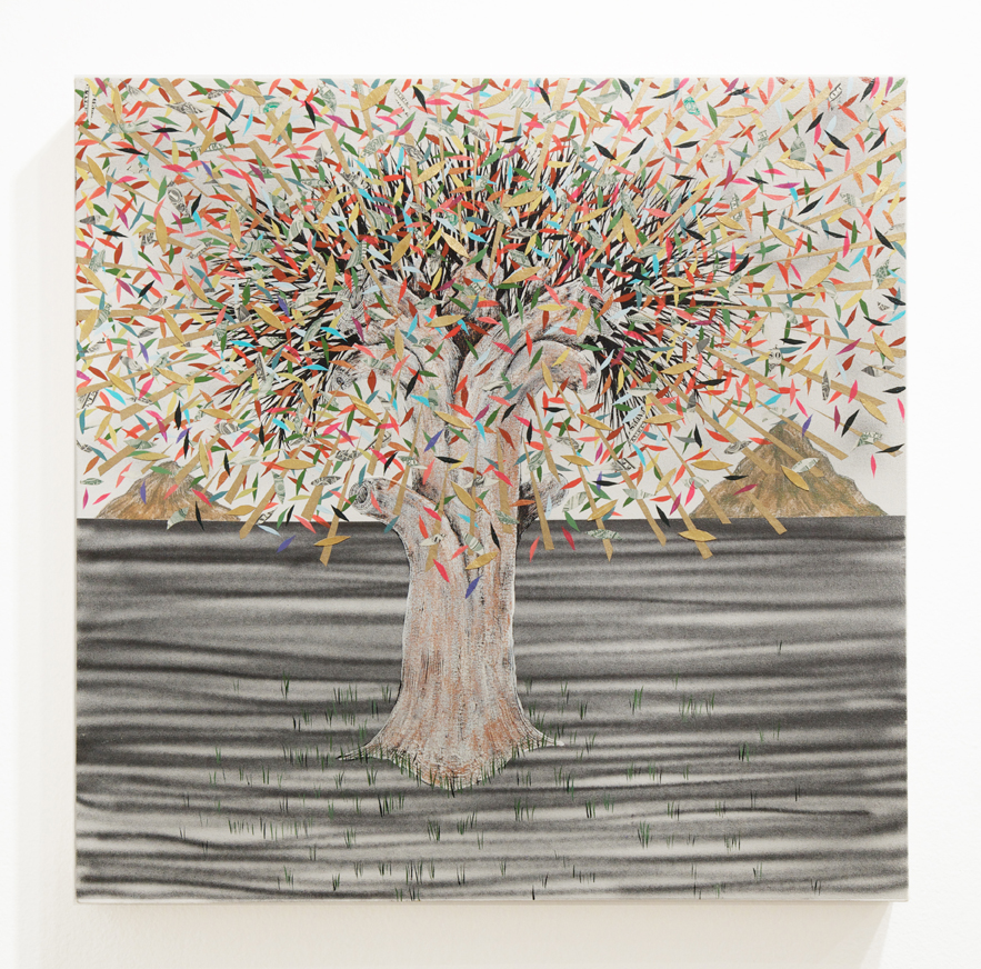 Andrew  Schoultz -  <strong>Tree (Golden Projection)</strong> (2014<strong style = 'color:#635a27'></strong>)<bR /> acrylic and collage on canvas,   24 x 24 inches  (60.96 x 60.96 cm)