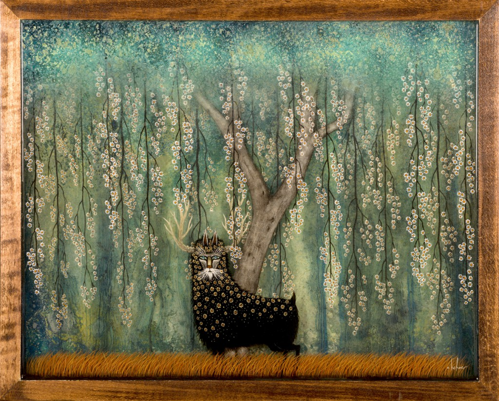 Andy  Kehoe -  <strong>A Flowering Fascination</strong> (2013<strong style = 'color:#635a27'></strong>)<bR /> oil, acrylic and resin in a wood box,   20 x 16 inches  (50.80 x 40.64 cm)