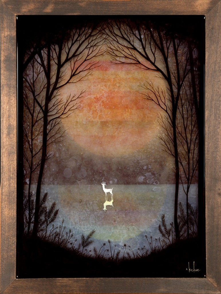 Andy  Kehoe -  <strong>A Placid Pause</strong> (2013<strong style = 'color:#635a27'></strong>)<bR /> oil, acrylic and resin in wood box,   12 x 16 inches  (30.48 x 40.64 cm)