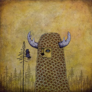 Andy  Kehoe -  <strong>Anxiety in the Face of Grandness</strong> (2011<strong style = 'color:#635a27'></strong>)<bR /> oil on wood panel,   24 x 24 inches (60.96 x 60.96 cm)  26.75 x 26.75 inches, framed