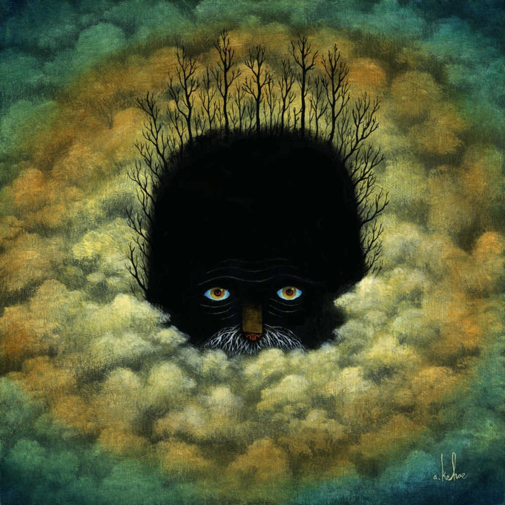 Andy  Kehoe -  <strong>Dark Drifter</strong> (2011<strong style = 'color:#635a27'></strong>)<bR /> oil on wood panel,   10 x 10 inches   (25.4 x 25.4 cm)