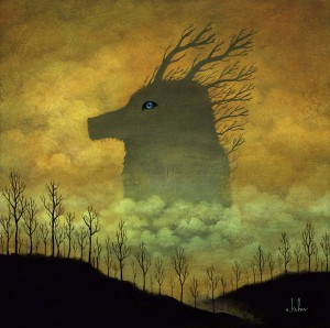 Andy  Kehoe -  <strong>Ethereal Wanderlust</strong> (2011<strong style = 'color:#635a27'></strong>)<bR /> oil on wood panel,   10 x 10 inches   (25.4 x 25.4 cm)